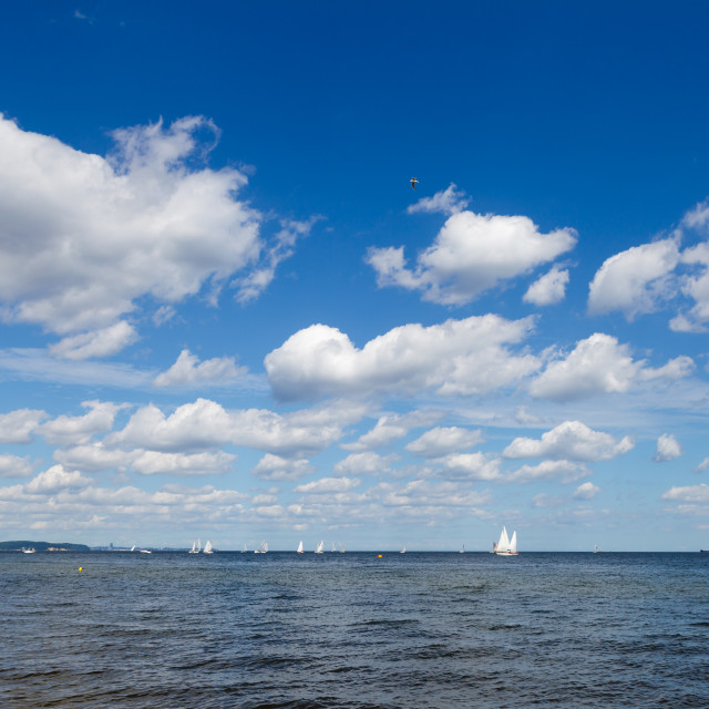 """Blue sky with white clouds over sea"" stock image"