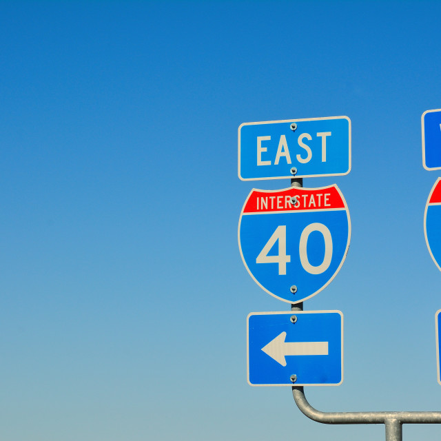 """Route 66 road signs on Texas.."" stock image"