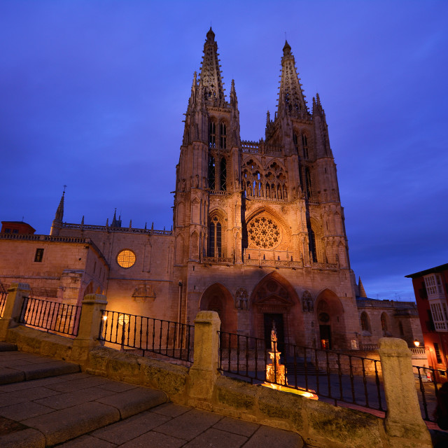 """Burgos Cathedral in the dusk light, Spain."" stock image"