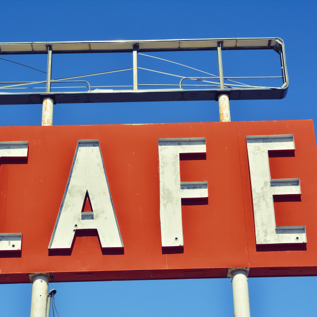 """Cafe sign in Texas."" stock image"