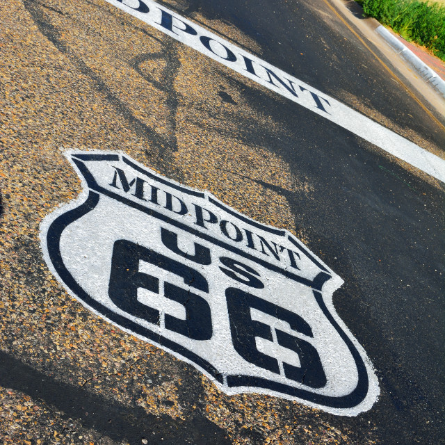 """Midpoint in the historic Route 66."" stock image"