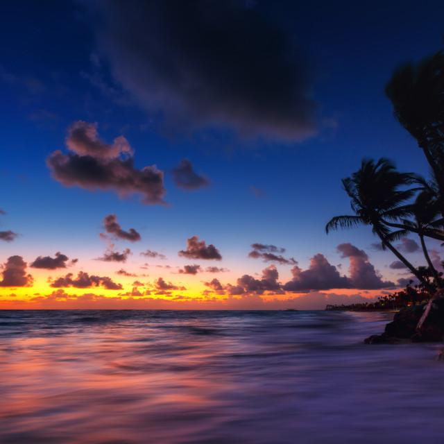 """Punta Cana tropical beach at sunrise in Dominican Republic"" stock image"