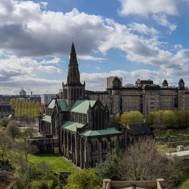 """""""St. Mungo's Cathedral in Glasgow, City Panorama"""" stock image"""
