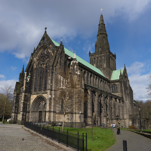 """""""St. Mungo's Cathedral in Glasgow on a sunny day with cloudy sky"""" stock image"""