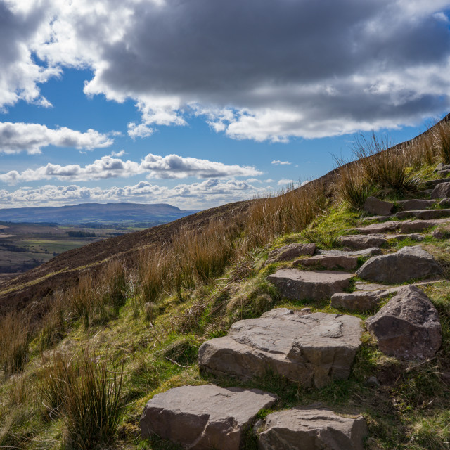 """""""Rocky stairs leading up a scottish hill"""" stock image"""