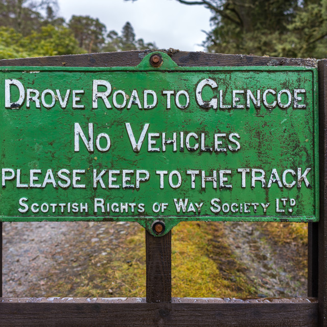 """""""Sign for hikers on the West Highland Way, Scotland."""" stock image"""