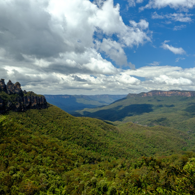 """""""Blue Mountains View with white clouds and blue sky, Australia"""" stock image"""