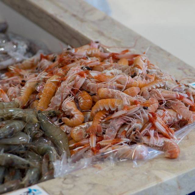 """""""Red Shrimps on ice offered in a portugese food market"""" stock image"""