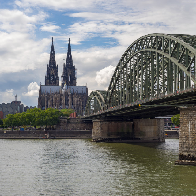 """""""Cologne Cathedral """"Dom"""" with Hohenzollern-Bridge and the Rhine"""" stock image"""