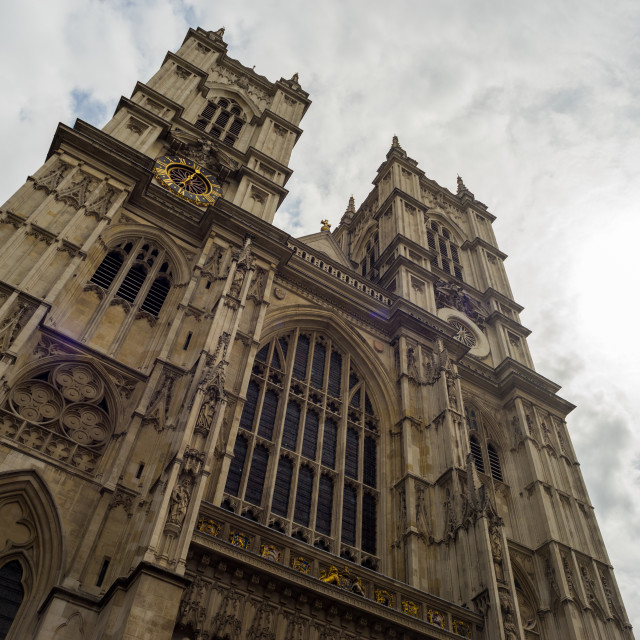 """""""Angled view of Westminster Abbey facade"""" stock image"""