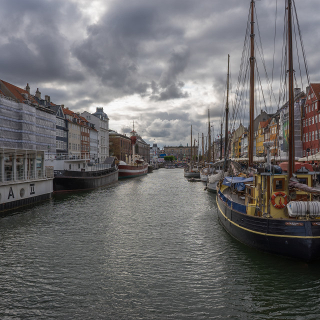 """Copenhagens Nyhavnon a cloudy day"" stock image"
