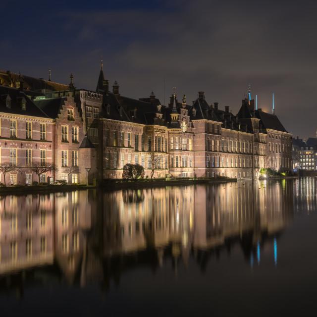 """""""The Binnenhof in DenHaag at night"""" stock image"""