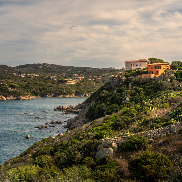 """""""Sardinian houses on a cliff"""" stock image"""