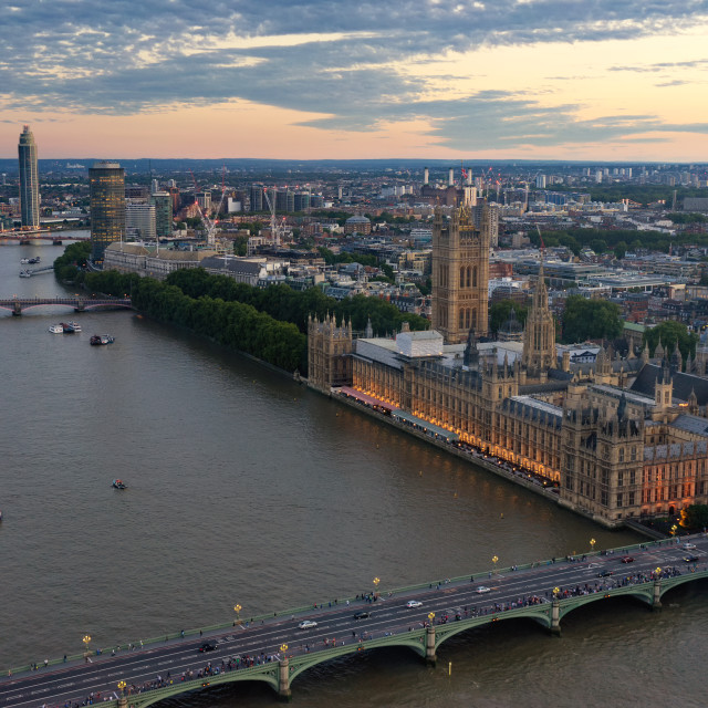 """""""Thames and Palace of Westminster at sunset from above"""" stock image"""