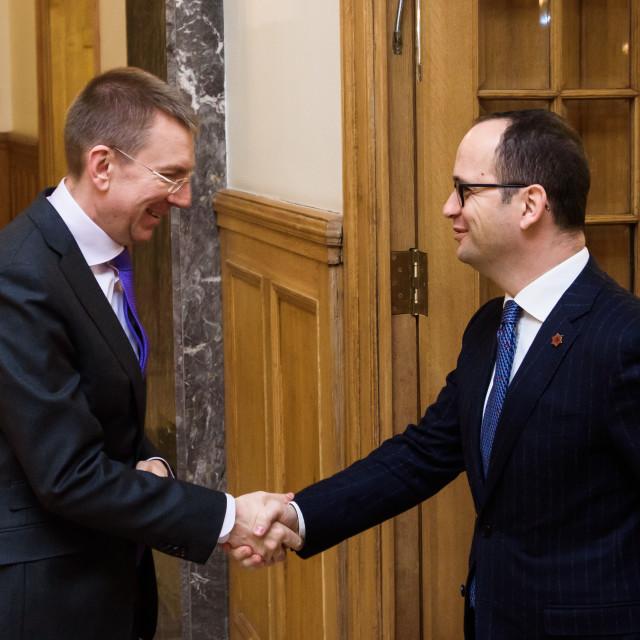"""21.02.2018. RIGA, LATVIA. Latvian minister of Foreign Affairs Edgars Rinkevics meeting with Albanian minister of Foreign Affairs Ditmir Bushati."" stock image"