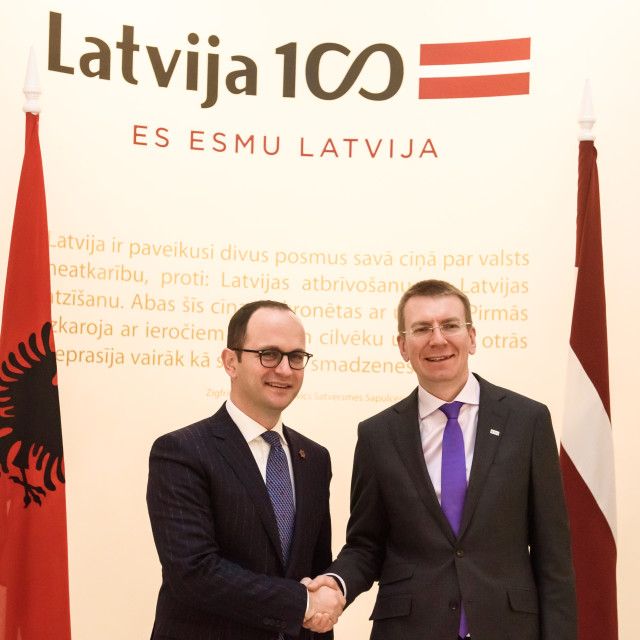 """21.02.2018. RIGA, LATVIA. Latvian minister of Foreign Affairs Edgars Rinkevics meeting with Albanian minister of Foreign Affairs Ditmir Bushati."" stock image"