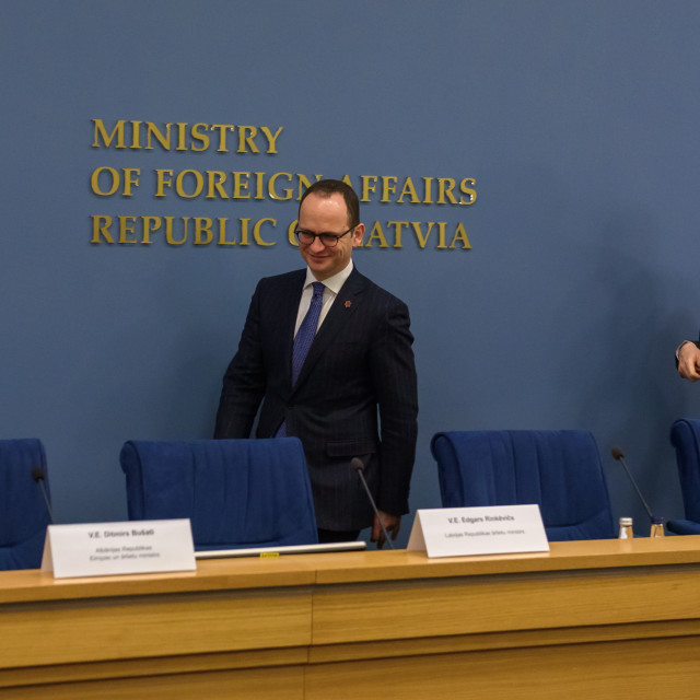 """21.02.2018. RIGA, LATVIA. Press conference after Latvian minister of Foreign Affairs Edgars Rinkevics meeting with Albanian minister of Foreign Affairs Ditmir Bushati."" stock image"