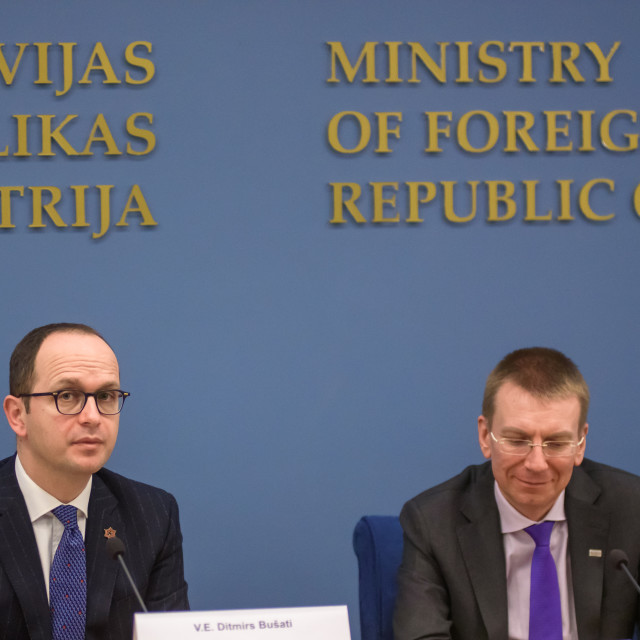 """21.02.2018. RIGA, LATVIA. Press conference after Latvian minister of Foreign Affairs Edgars Rinkevics meeting with Albanian minister of Foreign Affairs Ditmir Bushati."" stock image"