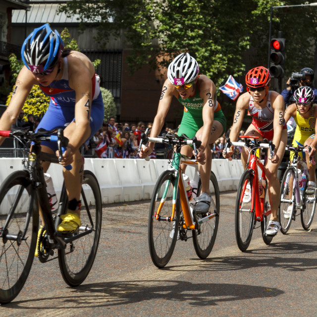 """""""Olympic cyclist in line"""" stock image"""