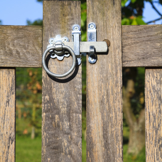 """""""Latched wooden gate"""" stock image"""