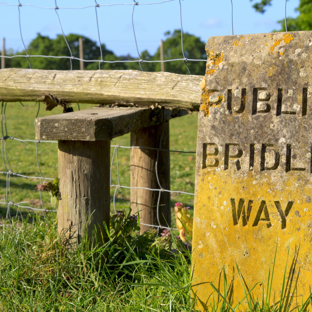 """""""Engraved stone sign for a public bridleway"""" stock image"""