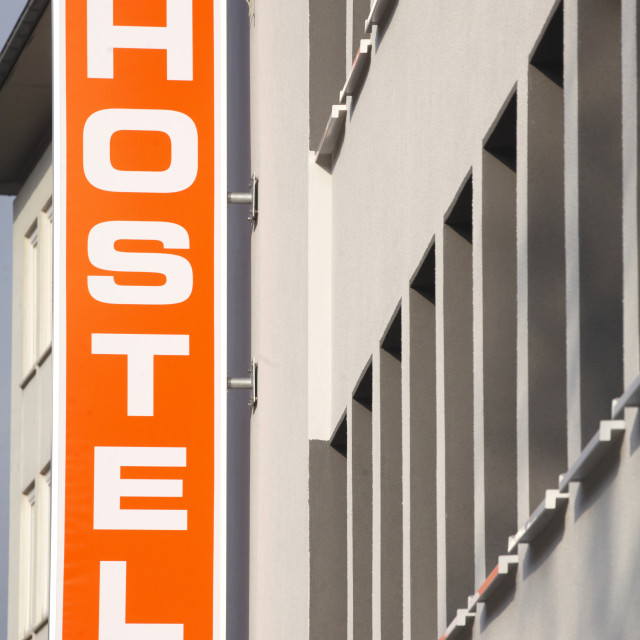 """Orange Sign Hostel"" stock image"