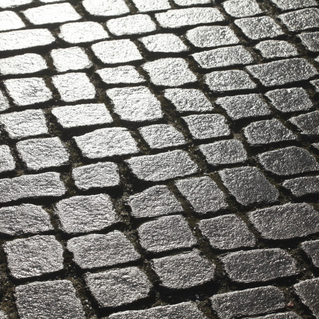 """wet glittering paving stones"" stock image"
