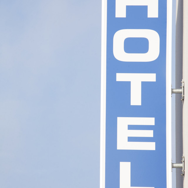 """blue Sign Hotel"" stock image"