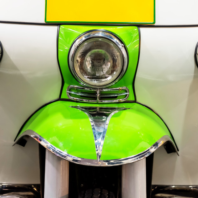 """""""front view of tuk tuk or tricycel taxi"""" stock image"""
