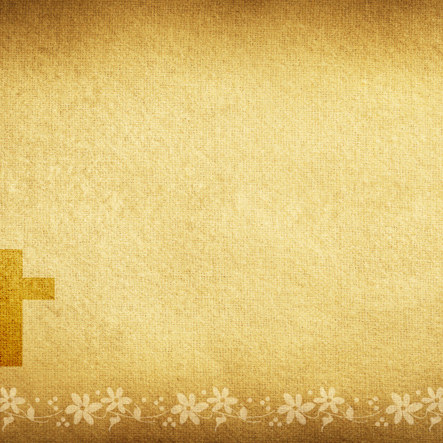"""Religious card with fabric flowers and cross"" stock image"