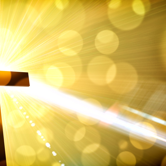 """Religious illustration with backlit cross with golden glitter"" stock image"