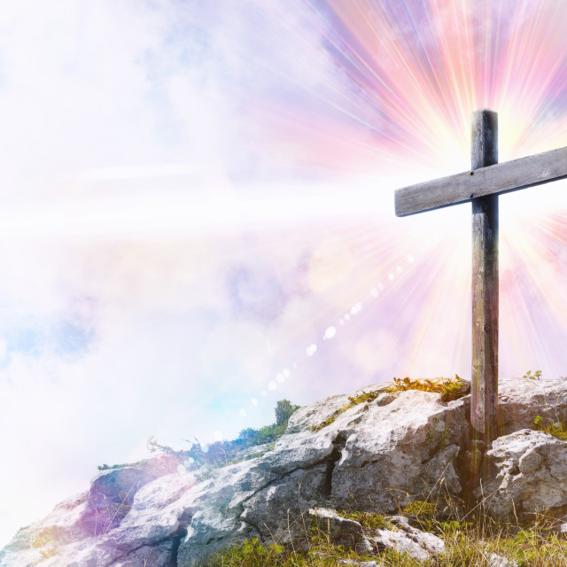 """Religious representation with cross on top of a hill"" stock image"