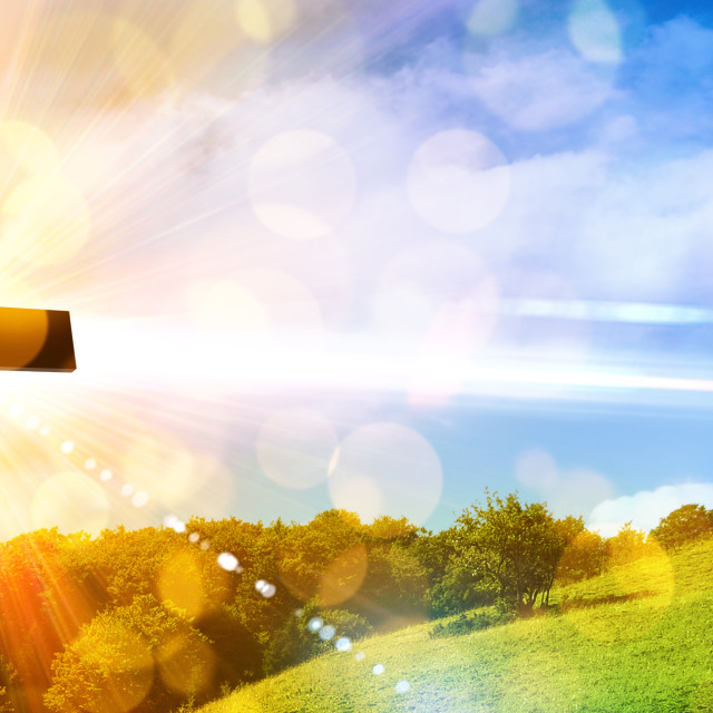 """Religious representation with cross and nature landscape background"" stock image"
