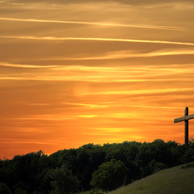 """Religious representation with three crosses and nature landscape background"" stock image"