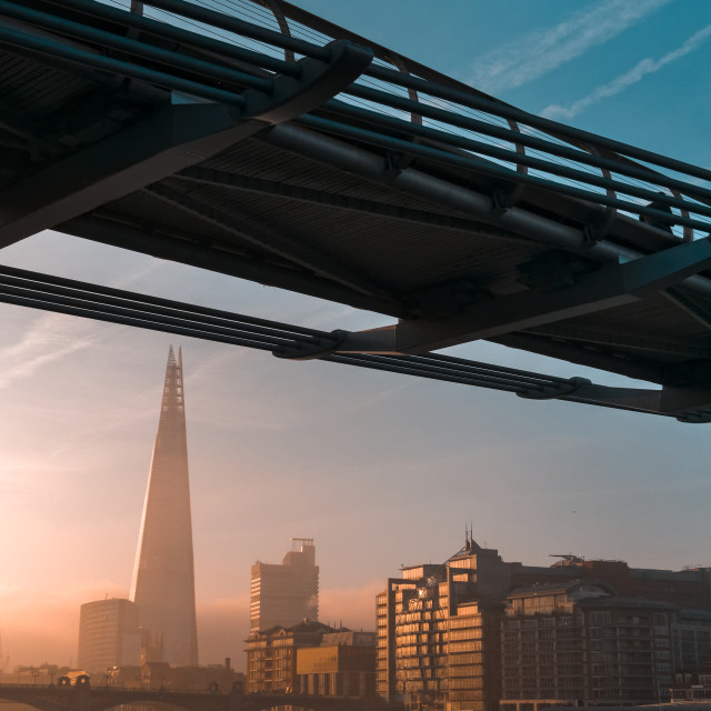 """Sunrise over The Shard Building and River Thames"" stock image"