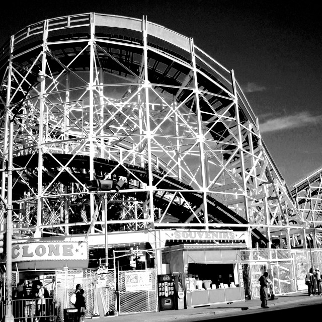 """""""Cyclone Rollercoaster from Surf Avenue (Coney Island) (B&W)"""" stock image"""