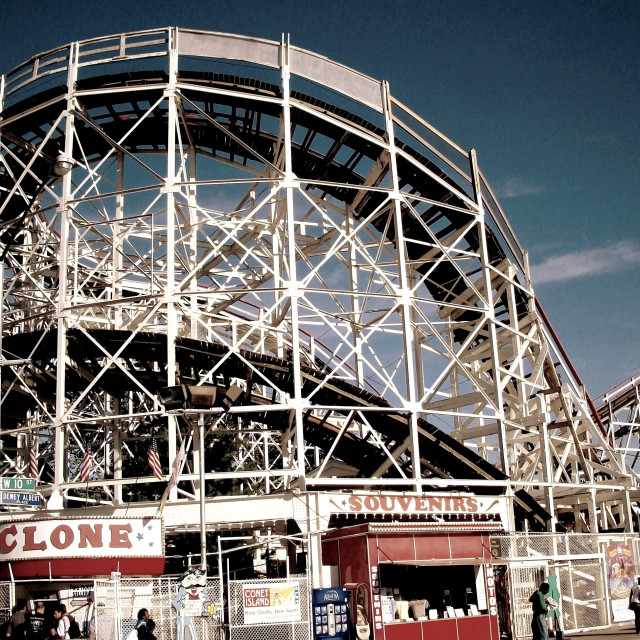 """""""Cyclone Rollercoaster from Surf Avenue (Coney Island)"""" stock image"""