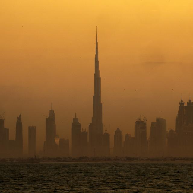 """Downtown Dubai at sunrise"" stock image"