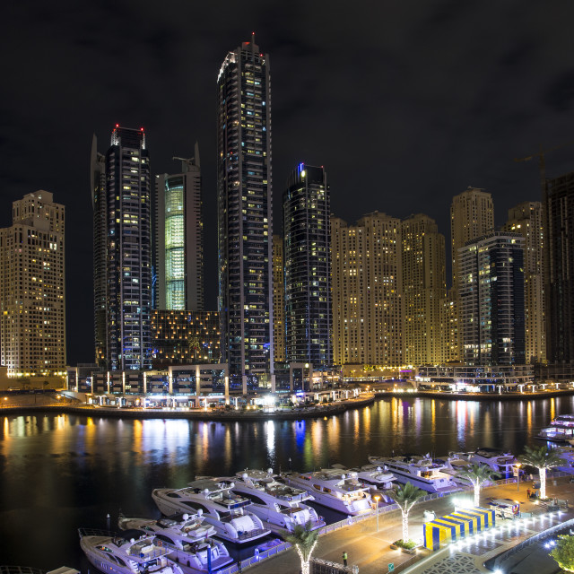 """Dubai Marina at night"" stock image"