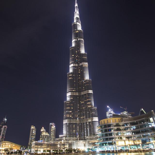 """The Burj Khalifa by night"" stock image"
