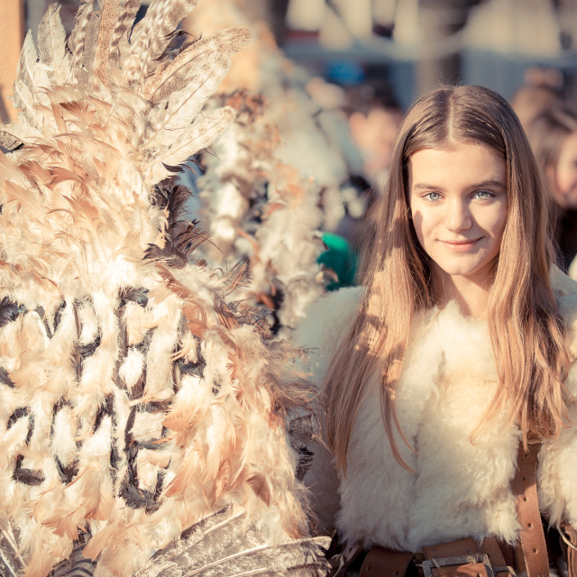 """""""Smiling at Surva 2018, Pernik, Bulgaria"""" stock image"""