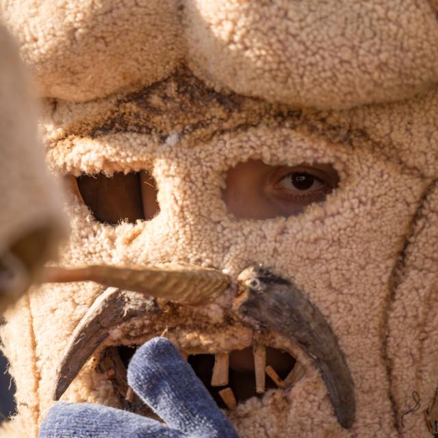 """Close up of kuker dancer in huge fur scary mask"" stock image"