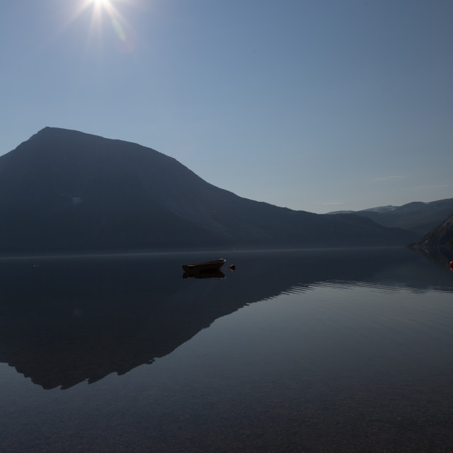 """Serene lake in Norway"" stock image"