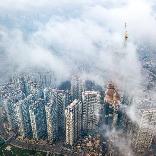 """Vinhomes Central Park Tan Cang landmark 81 Above the Clouds"" stock image"