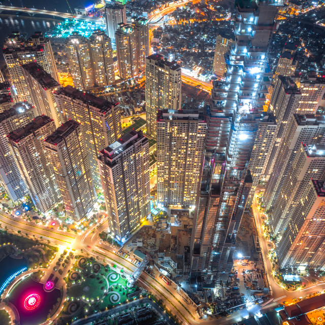 """Vinhomes Central Park Tan Cang by night"" stock image"