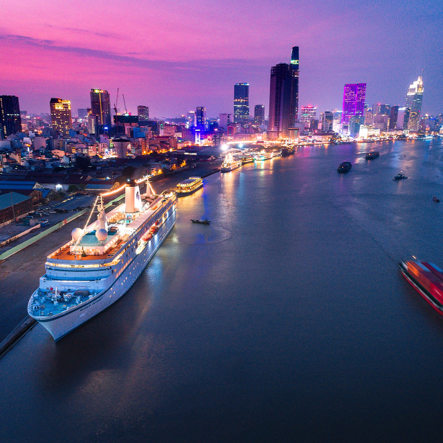 """world ODyssey on Thủ Thiêm river Sai Gon"" stock image"