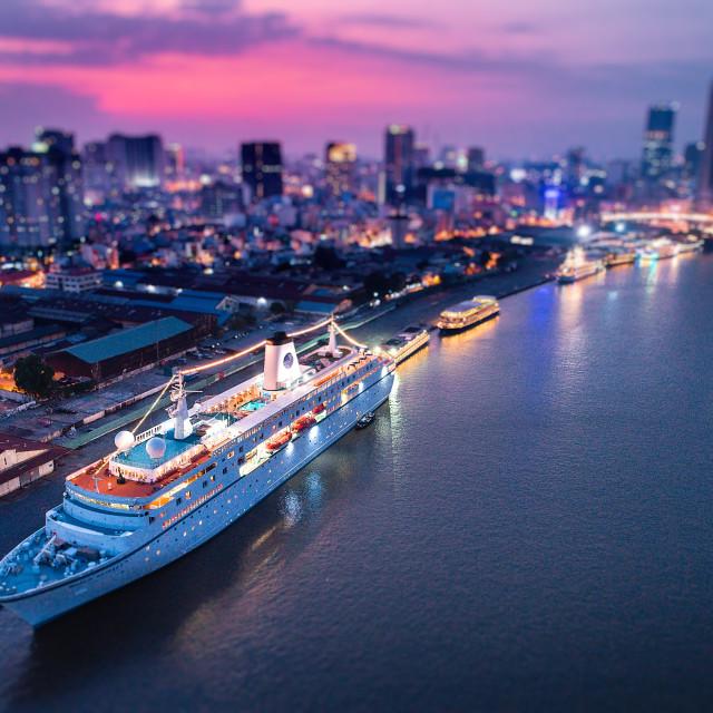 """""""world ODyssey on Thủ Thiêm river Sai Gon"""" stock image"""