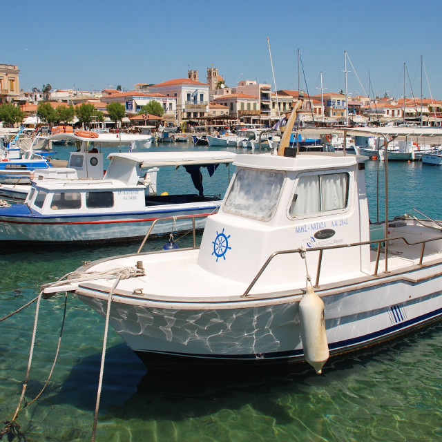 """Aegina Town port, Greece"" stock image"