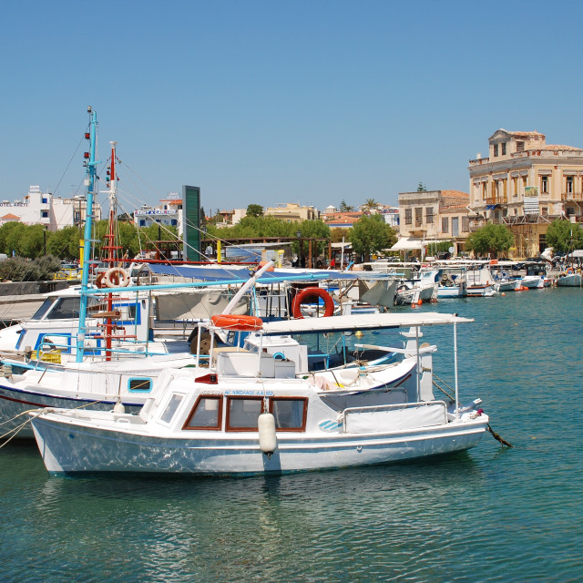 """Aegina Town harbour, Greece"" stock image"
