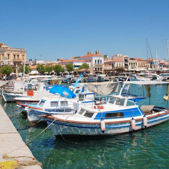 """Aegina Town harbour on Aegina island"" stock image"